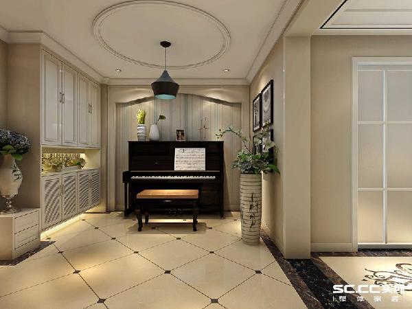 简洁的线条感设计,配以黑色的钢琴,简单自然