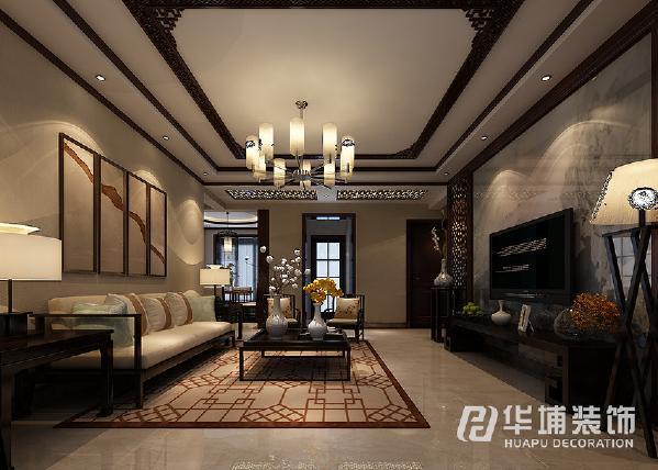 电视背景是以大理石为基底中式的图案为面色来搭,电视墙简单不失大气,中国风也会让你心旷神怡。