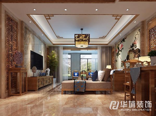 电视背景和茶沙发背景主要是以大理石为基底中式的图案为面色来搭,电视墙简单不是大气,沙发墙风味十足,中国水墨画把我们带回了公元前。