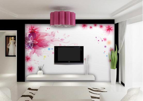 玫瑰花红的艺术水晶玻璃马赛克电视背景墙,搭配绿色植物和白色花瓶,再加上左边神秘艺术人物背景,整体上看,清新、淡雅的色调,给屋主带来一种宁静、温柔的自由想象。