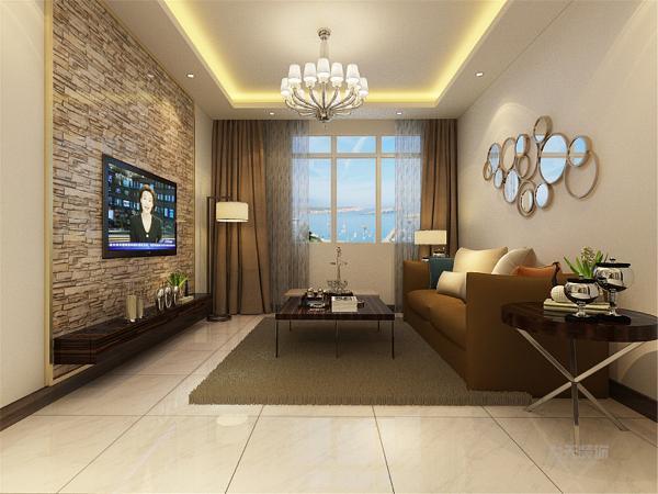 客厅空间讲究的是时尚的现代化气息,电视背景墙采用文化石,用香槟色的金属包边,彰显个性,地面整体通铺白色地砖使空间看起来更有时尚感,透着现代化的气息。
