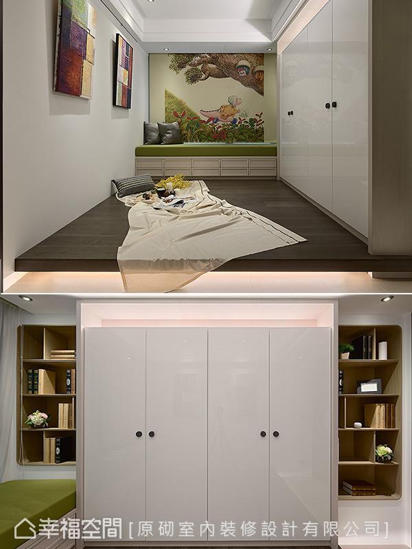 将女屋主的创作转化为窗帘上的趣味视觉,诠释空间的独特风格;衣柜两侧饰以边角圆润的书柜,除了扩充收纳机能更展现对称与和谐之美。