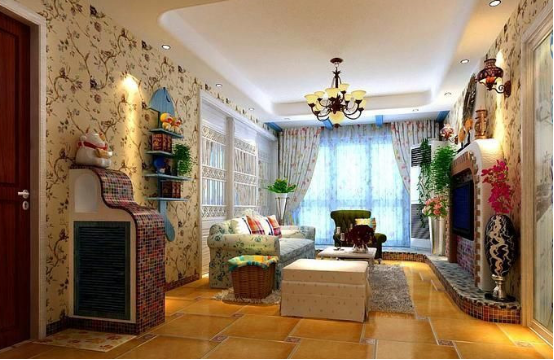 以窗帘、透明的玻璃、玫瑰花红形的电视马赛克背景,马赛克沙发、橙色的地毯随意搭配,整体明亮、简约、单纯的房屋空间,传承着西方文化底蕴的壁灯静静泛着影影绰绰的灯光,朦胧、浪漫之感油然而生。