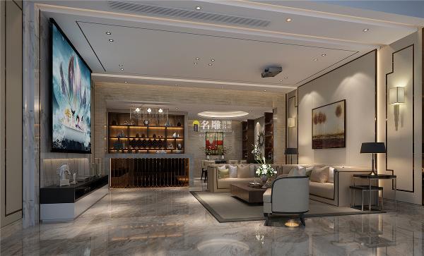御景水岸500平别墅现代时尚装修设计客厅效果图