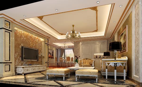 龙光·九龙玺四居室欧式风格装修客厅装修效果图