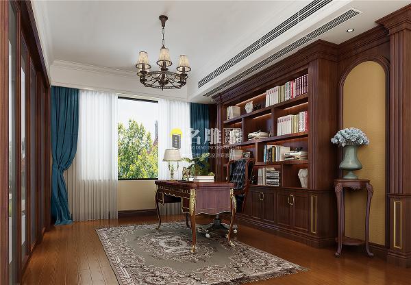 香山美墅美式风格别墅装修设计书房装修效果图