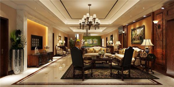香山美墅美式风格别墅装修设计客厅装修效果图