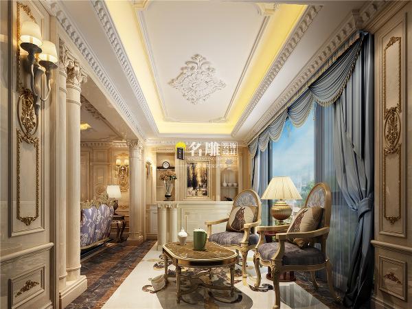 曦湾天馥260平欧式风格装修设计休闲室效果图