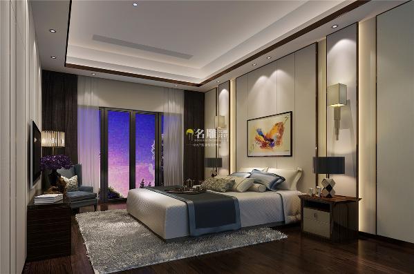 御景水岸500平别墅现代时尚装修设计卧室效果图