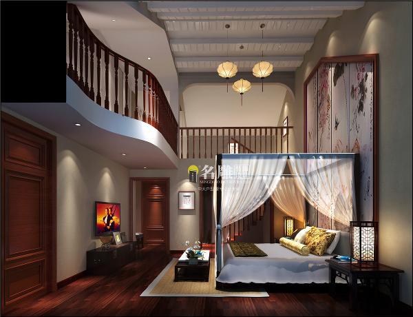 龙光城210平联排别墅中式风格装修主卧:主卧背景以池塘、荷花、翠鸟为主题的设计理念呈现出主卧的中国风韵味表 现手法,体现出主卧的宁静悠远的和谐氛围。