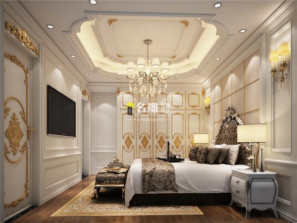 曦湾天馥260平欧式风格装修设计卧室效果图