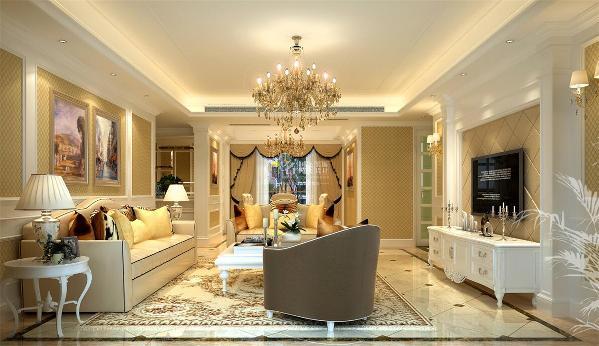 绿景虹湾装修效果图装修案例欧式风格客厅装修设计