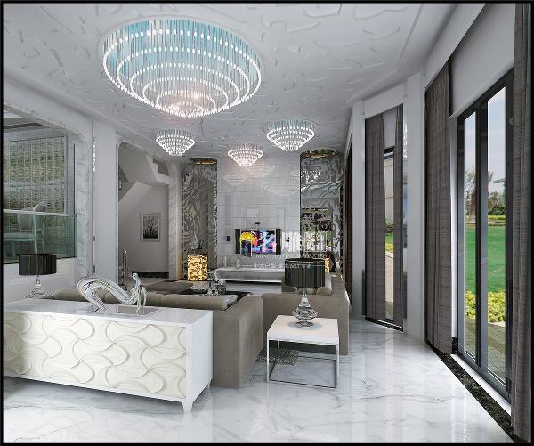 龙光城240平联排别墅现代风格装修客厅:客厅吊顶借鉴植物的元素思路,色彩以灰白为主,电视背景银镜点缀。以室 外呼应打造出城市中的宁静。