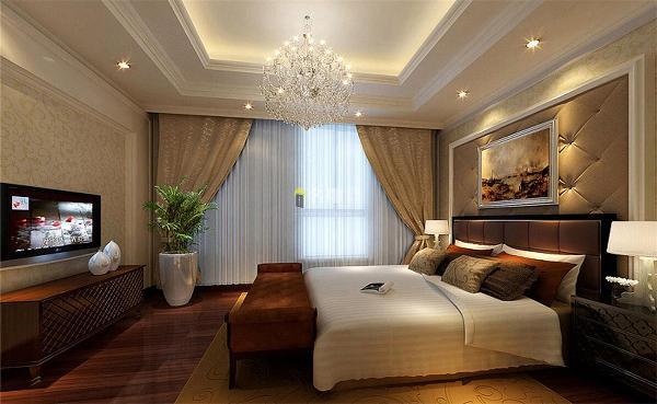 绿景虹湾装修效果图装修案例欧式风格卧室装修设计