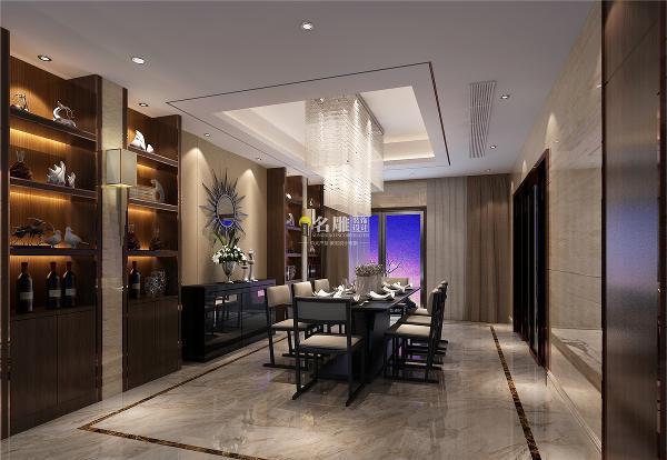 御景水岸500平别墅现代时尚装修设计餐厅效果图