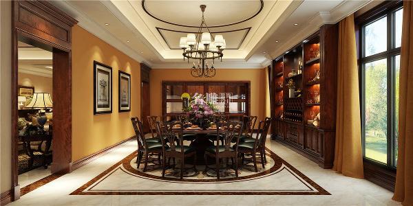香山美墅美式风格别墅装修设计餐厅装修效果图