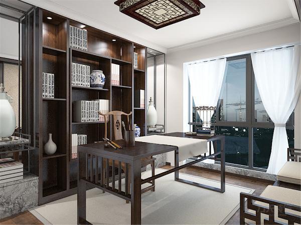 书房通铺实木地板,博古架方便业主后期收藏与展示自己心爱的藏品。一套中式书桌椅,提升空间的整体档次。为了空间的整体大气的感觉,书房只采用石膏线做了个简单装饰。