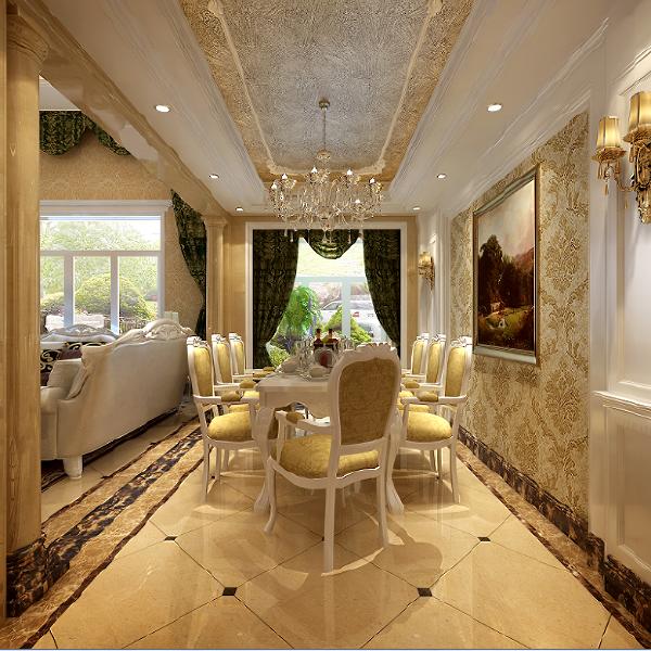 郑州大业美家装饰-橄榄城伍号院-300平别墅-餐厅装修设计效果图