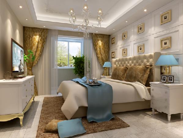 郑州大业美家装饰-橄榄城伍号院-300平别墅-卧室装修设计效果图