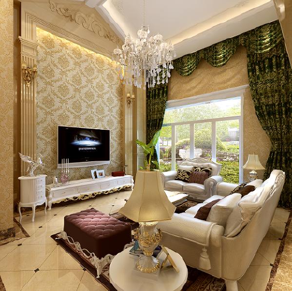 郑州大业美家装饰-橄榄城伍号院-300平别墅-客厅装修设计效果图