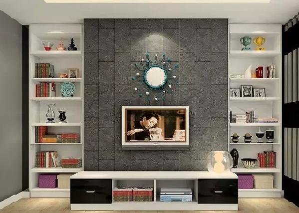 依墙壁面设计的电视背景墙,靠墙角处设计成柜式,方便放一些需要防灰图片
