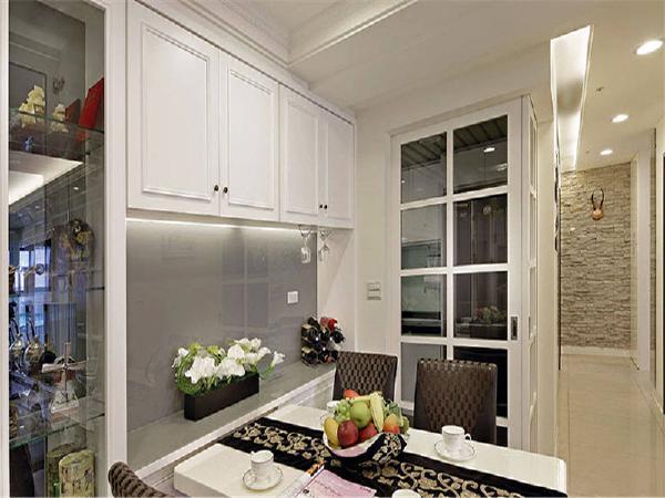 餐厅与厨房一门之隔,防止油烟进入客厅!