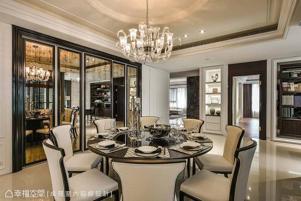 以璀璨的新古典意象,缔造餐厅的优雅氛围,而侧边仿古镜面的门片,是唯美的工艺结合,融入新古典与现代的元素。