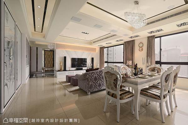 调整入门玄关的尺度后,除了拥有更完整的迎宾区与收纳空间外,更与客、餐厅与廊道串连,延伸视觉上的尺度。