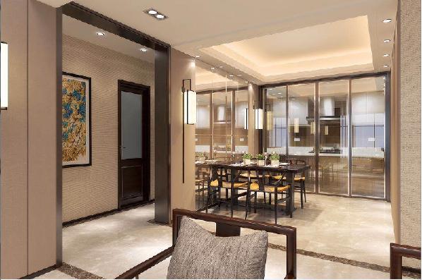 永威东棠240平复式楼二楼客厅修效果图