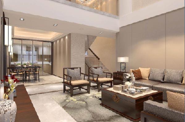 永威东棠240平复式楼一楼客厅修效果图