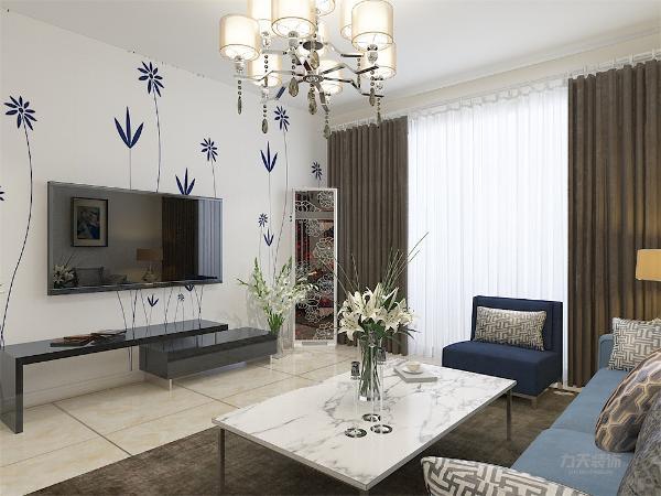 电视背景墙非常小清新,电视柜两侧放有绿植,既有装饰的作用,还有净化