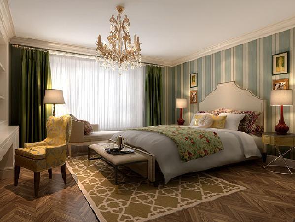 源盛嘉禾(290平米)美式风格别墅户型次卧室效果图