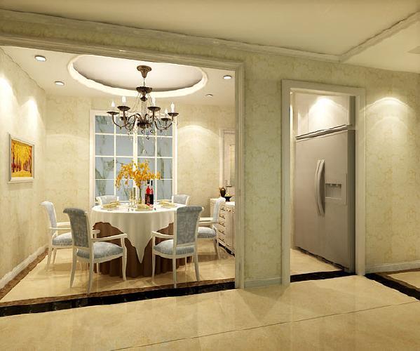 餐厅圆形造型,可以适应各种餐桌,打掉餐桌旁边的隔断墙,定制一整排的吧台,整个餐厅显的通透,而又不乏生活情趣。