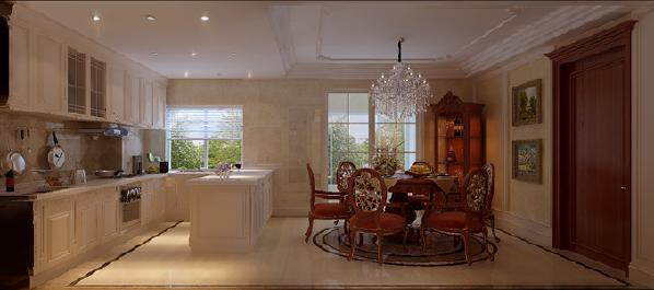 餐厅与厨房在同一个空间,开放式的厨房为主人提供了优雅的用餐环境!