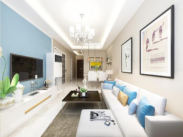 整个客厅采用的是奶咖色的乳胶漆从细节上看,在电视背景墙的装饰上,采用的是蓝色的乳胶漆,与墙面进行了对此呼应。表现了一种撞色的清新现代气息感。