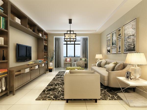 配搭深灰花纹地毯,窗帘结合家具的颜色为浅灰色,墙面运用的是绿灰色的墙面,电视背景墙为整体书柜的形式,集储物与装饰为一体,多种功能并用。