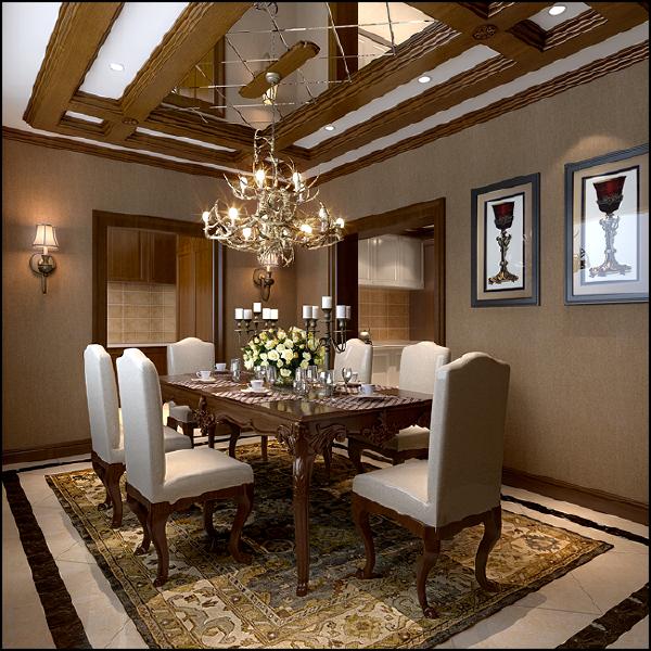 源盛嘉禾(290平米)美式风格别墅户型餐厅效果图