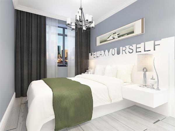 在卧室的设计中,我们采用了灰色的木地板与蓝色墙面相结合,白色的床配搭白色系的双人床使空间更加简洁干练,在床头的背景墙上采用的挂画形式,灯选用的是金属吊顶,整个空间多采用简洁明朗的线条。