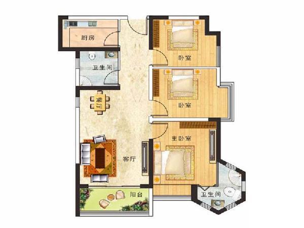 江南小镇装修效果图平面户型布局图——两室两厅84平