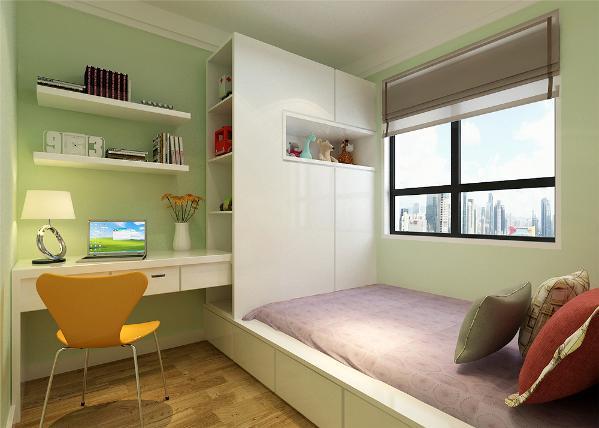 窗台下放一些绿植不仅增加了的自然气息还有助于调节室内的空气。卧室的设计在色调上和客厅保持一致,每个空间都带来闲散舒适的氛围。