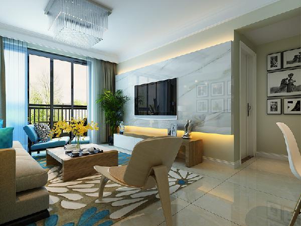 合肥实创装饰—旭辉御府—83平米—三居室—现代简约—客厅装修效果图