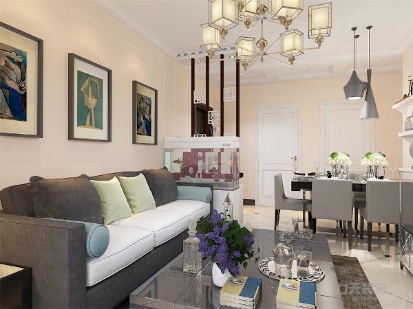 本案例客厅采用暖黄色系乳胶漆墙面,深灰色沙发,布艺材质,抱枕色彩鲜明,给整个空间产生了不一样的色彩。