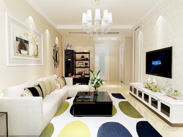 电视背景墙采用石膏造型,使空间具有流线型,不沉闷。沙发背景墙只做了简单的处理,以装饰画的形式来装饰背景墙。
