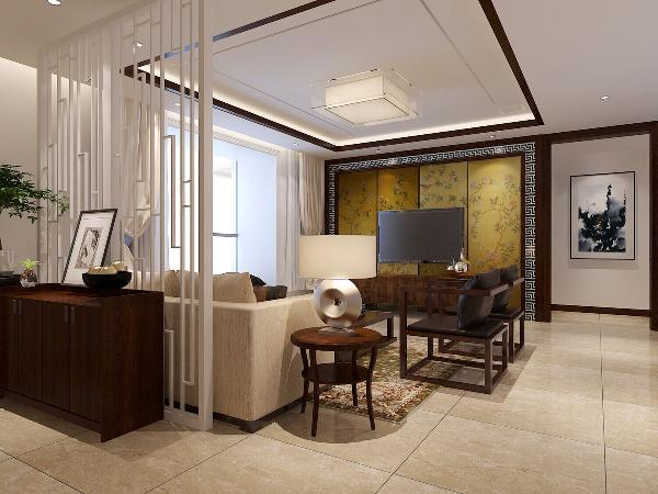 京铁家园(116平米)中式风格的内涵---客厅效果图