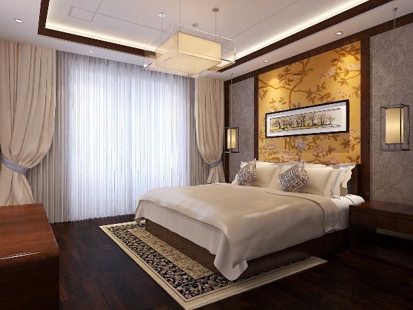 京铁家园(116平米)中式风格的内涵---卧室效果图