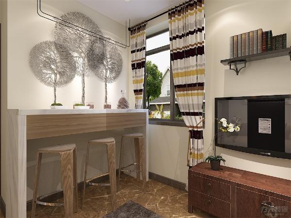餐厅区面积小吧台餐桌三把椅子适合一家三口使用节省空间合理规划空间,便于业主和朋友爱人小酌交流感情。