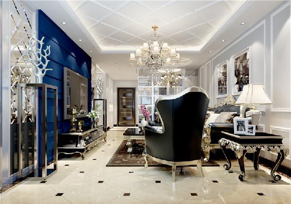 在客厅的沙发背景墙上使用了简单的石膏线进行圈边,以及挂画的形式设计。在电视背景墙上使用了不规则的石膏板进行设计,以及两边的菱形镜,让整个户型变得更加通透