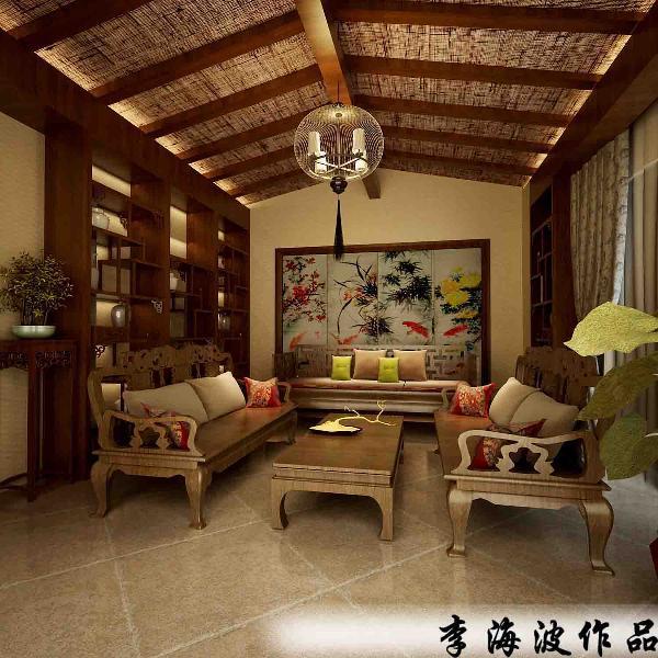 生活家装饰--东郡府230平米独栋别墅中式风格客厅装修效果图