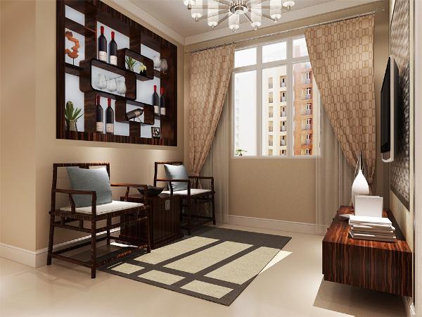 本案客厅的主要装修材料以暖色调乳胶漆,地面铺设大理石进行装饰,以装饰柜作为背景墙,电视背景墙则使用了不锈钢的车边境以及壁纸和马赛克的结合,不失现代感。