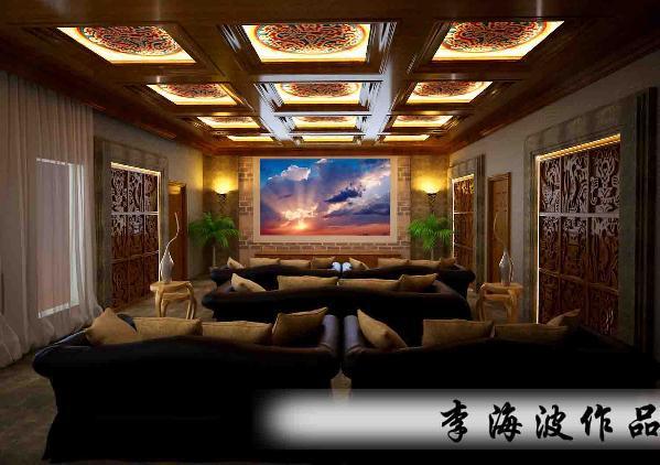 生活家装饰--东郡府230平米独栋别墅中式风格影音室装修效果图